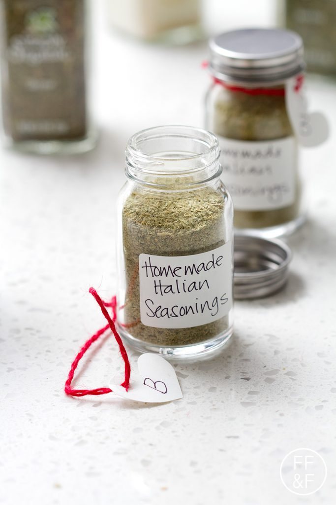Edible Gift Idea - Make your own custom seasoning blend. Post includes a recipe for Homemade Italian Seasonings