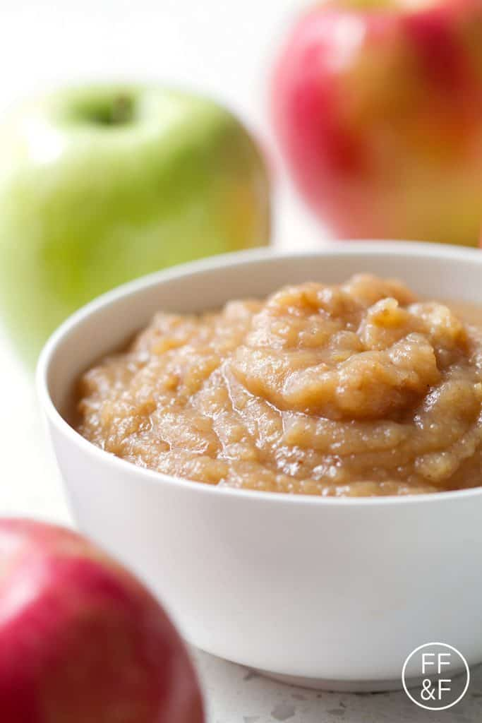 A recipe for applesauce that is so easy, you don't even need to peel the apples! Just chop and throw them in the slow cooker. This is the best recipe for busy moms or just busy people.