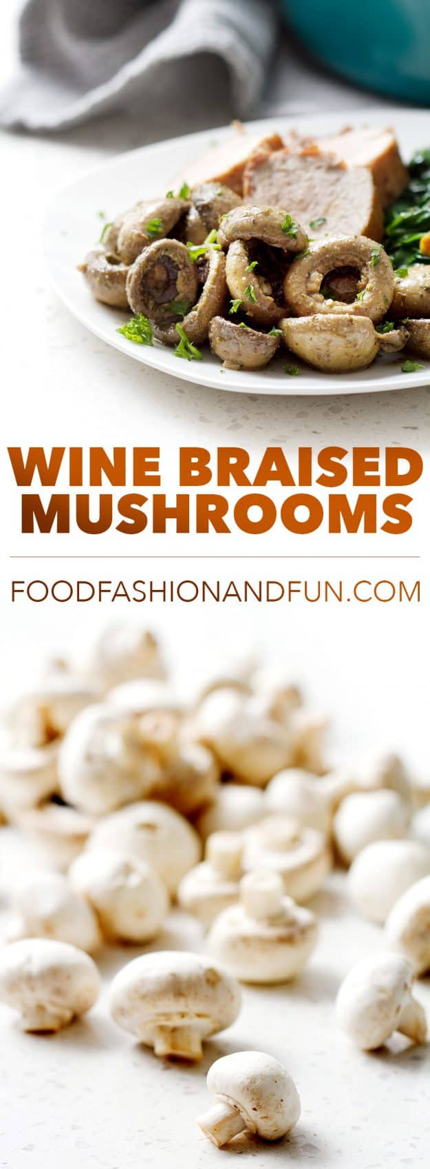 Button mushrooms that are braised in wine and Italian Seasonings. It's super simple, delicious and perfect for those following a vegan, autoimmune protocol diet or people that just want a really great side.