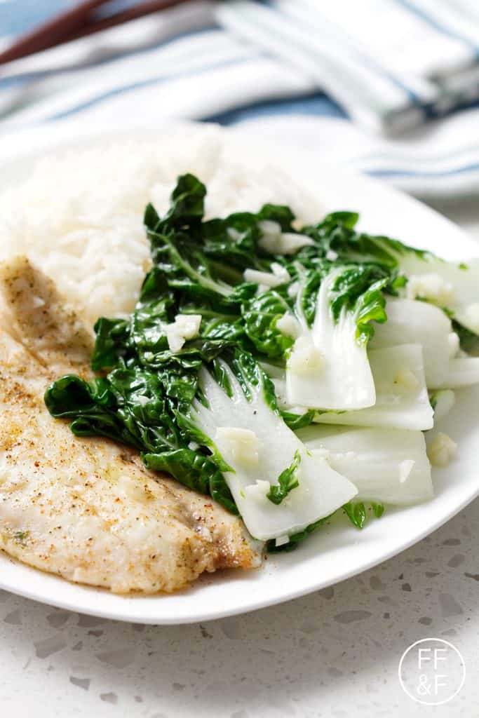 Easy recipe for stir fried garlic bok choy with an emphasis on the garlic. This recipe is vegan, Paleo/AIP and delicious.