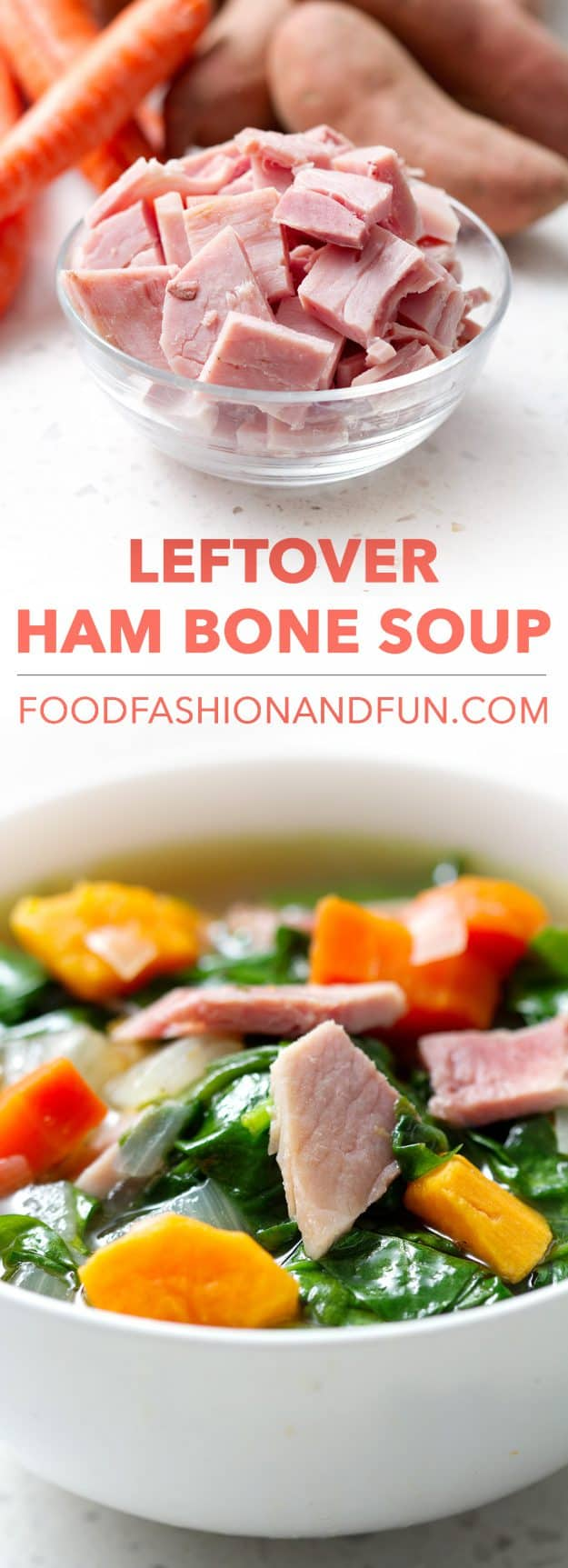 Save the bone and a few cups of leftover ham from last night's glazed ham to make this Leftover Ham Bone Soup. It's packed with colorful and good-for-you foods like carrots, sweet potatoes and spinach. This recipe is paleo/AIP that means gluten, dairy and nut free.