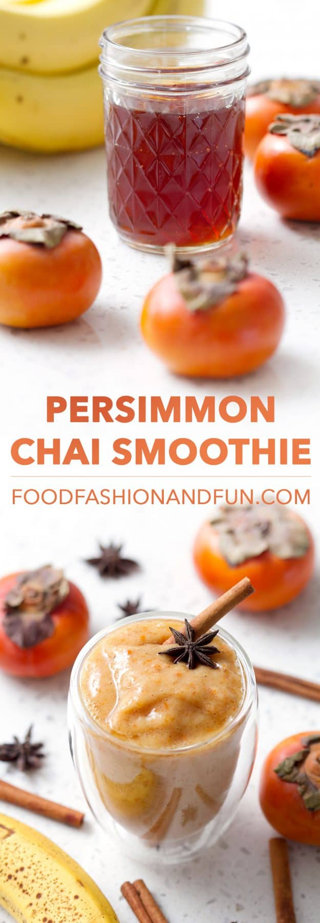 This recipe for Persimmon Chai Smoothie use uses only a few ingredients to create a healthy and delicious drink. Persimmons have a rather short season so take advantage and blend this seasonal smoothie. This drink is vegan and paleo/AIP.