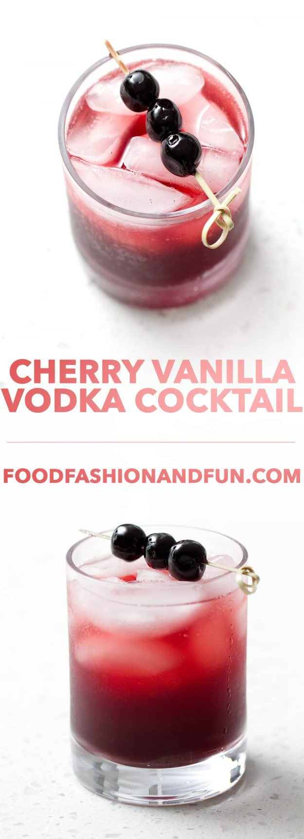 This fragrant Cherry Vanilla Vodka Cocktail is all about the Cherry Vanilla Syrup. It's a simple recipe with tons of flavor that's sure to impress your friends at your next cocktail party or happy hour.