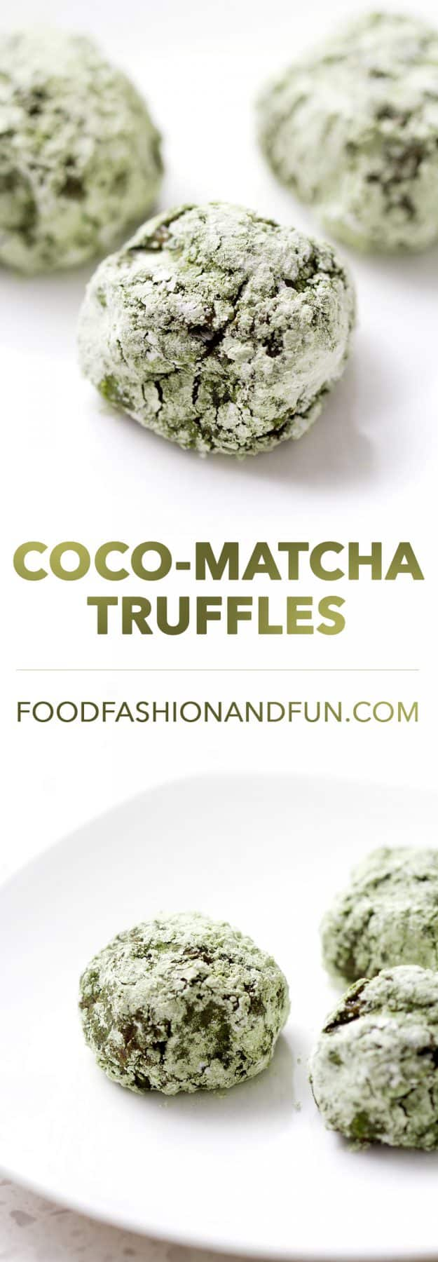 Gooey Coconut Matcha Truffles that melt in your mouth. They are the best combination of coconut, chocolate and matcha tea you'll ever eat. The recipe is also great for vegan and dairy free diets.