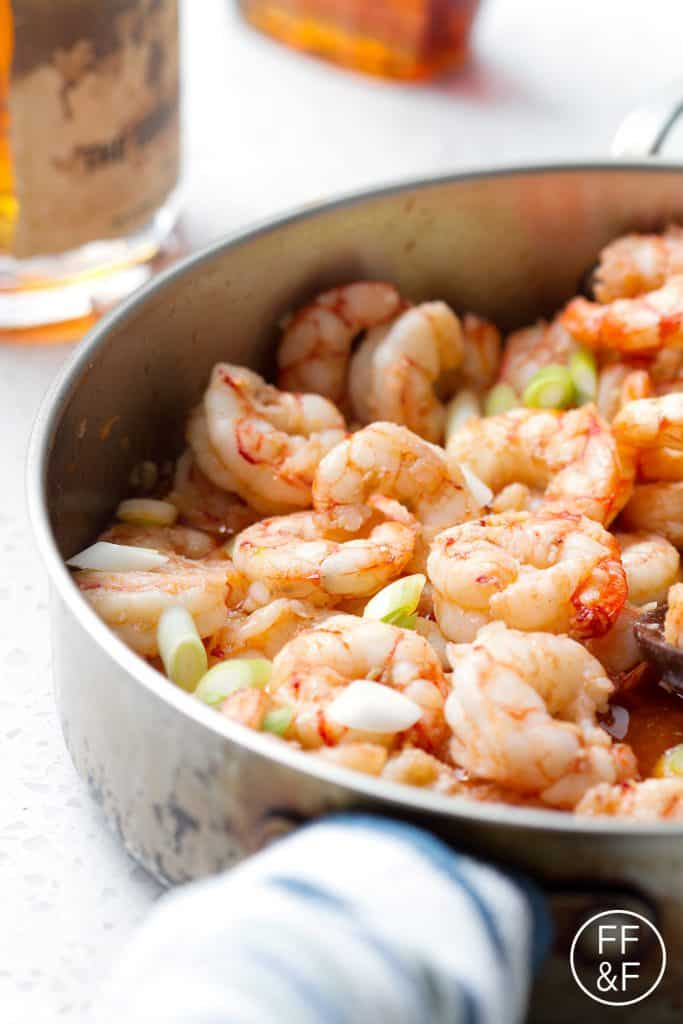 This Whiskey Shrimp recipe is true to its name. It's shrimp that's cooked in whiskey along with some garlic, maple syrup salt and pepper. It's subtly sweet and smoky from the whiskey and maple syrup but completely delicious. This recipe dairy, nut (including coconut), wheat and soy free.