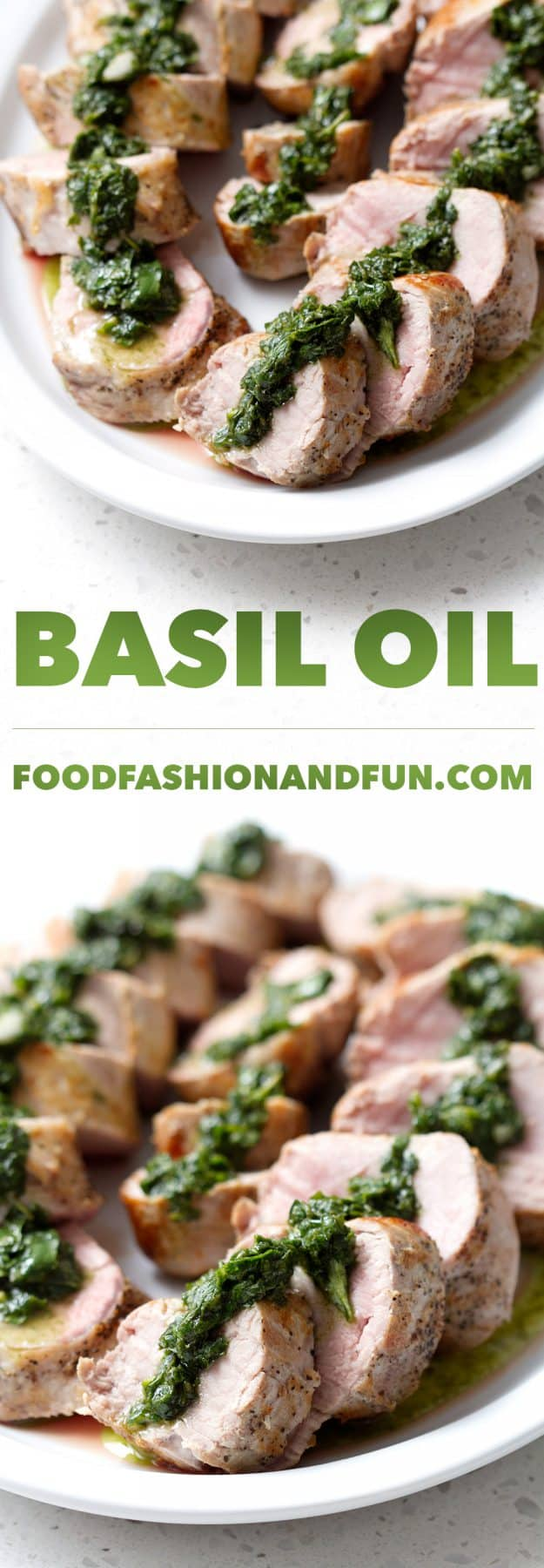Basil Oil is a simple sauce of just four ingredients that is a perfect topping for simple grilled or roasted pork, shrimp, chicken or beef. This recipe is allergy friendly (gluten, dairy, shellfish, nut, egg, and soy free) and suits the autoimmune protocol and paleo diet.