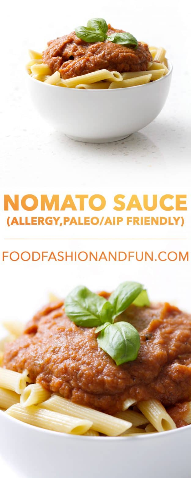 A tomato-less Nomato Sauce made of fresh veggies for your favorite pasta. This recipe is allergy friendly (gluten, dairy, shellfish, nut, egg, and soy free) and suits the autoimmune protocol and vegan diets.