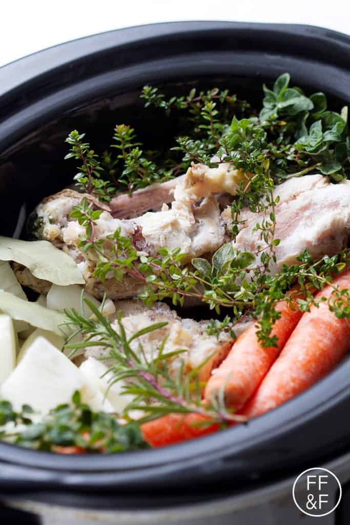 This is an easy recipe for slow cooker chicken stock to help keep your freezer full of homemade broth. This recipe is allergy friendly (gluten, dairy, shellfish, nut, egg, and soy free) and suits the autoimmune protocol diet/paleo.