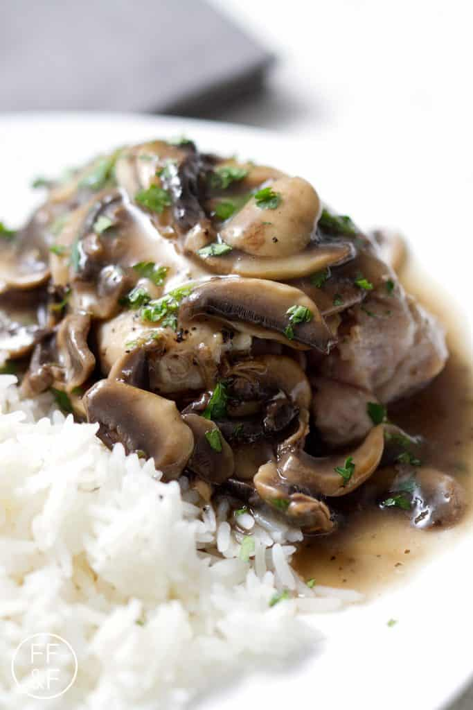 This easy Chicken Marsala recipe is made in one pan in less than thirty minutes! Traditionally this Italian American dish is made butter and breaded chicken. To make this dairy and gluten free, I've used olive oil and skipped the flour altogether. This recipe is allergy friendly (gluten, dairy, shellfish, nut, egg, and soy free) and suits the autoimmune protocol and paleo diets.