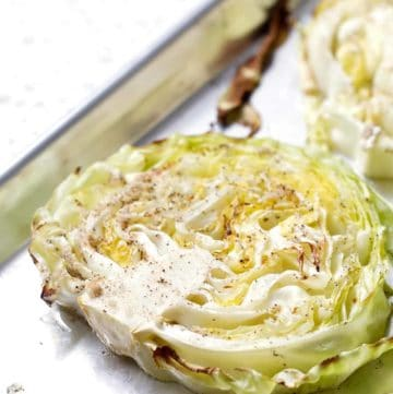 This 4-ingredient Roasted Cabbage that is a delicious and easy as a side to corned beef or steak. This recipe is allergy friendly (gluten, dairy, shellfish, nut, egg, and soy free) and suits the autoimmune protocol, paleo and vegan diets.