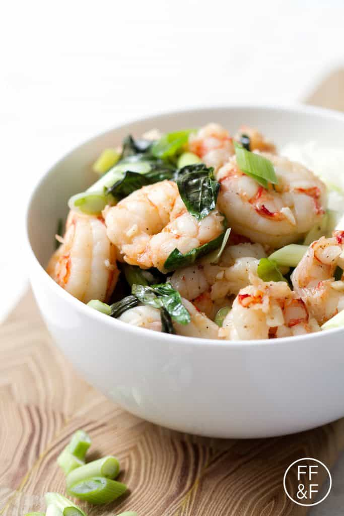 This is a soy free stir-fry recipe for the traditional Thai Basil Shrimp that's ready in 20 minutes. This recipe is gluten, dairy, nut, egg, soy free and suits the autoimmune protocol and paleo diets.