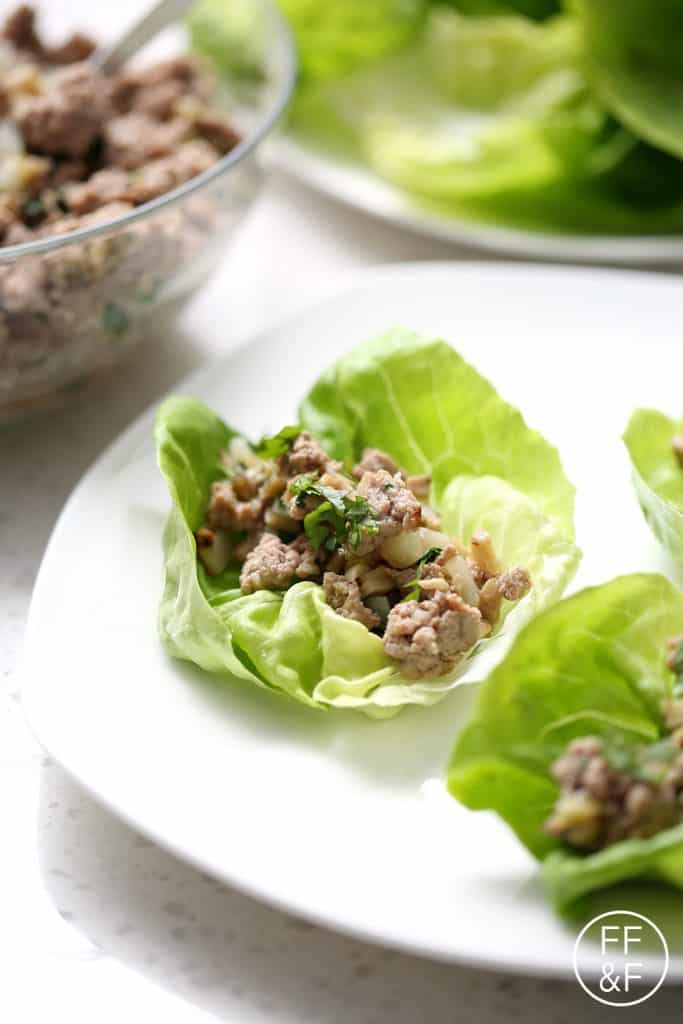 These Turkey and Mushroom Lettuce Wraps are a healthy easy one pot dinner dish. This recipe is allergy friendly (gluten, dairy, nut, egg, soy and shellfish free) and suits the autoimmune protocol (AIP) and paleo diets.