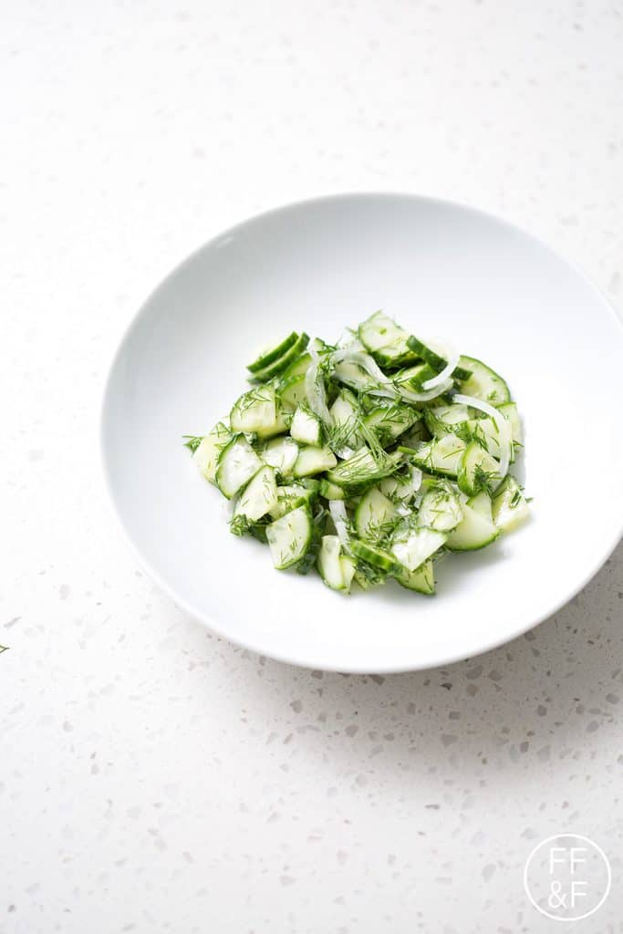 Here's a refreshing and vinegary summer recipe, Cucumber Dill Salad. It's made with fresh dill, cucumbers and a vinegary dressing that requires absolutely no cooking. It's the perfect summer side dish. This recipe is allergy friendly (gluten, dairy, seafood, nut, egg, and soy free) and suits the autoimmune protocol and paleo diet.