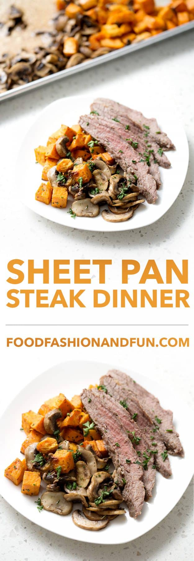 This Sheet Pan Steak Dinner is quick and easy with very little cleanup. This flank steak with mushrooms and sweet potatoes dish is one that your family will request again and again!