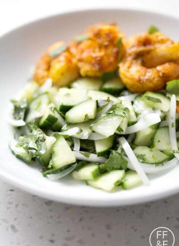 This Cucumber Herb Salad is perfect for a summer BBQ or an easy weeknight meal. It's a refreshing salad made of fresh herbs and crisp cucumbers. This recipe is allergy friendly (gluten, dairy, seafood, nut, egg, and soy free) and suits the autoimmune protocol (AIP), paleo and vegan diets.