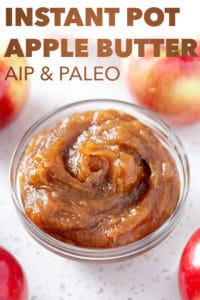 bowl of instant pot apple butter with text and apples