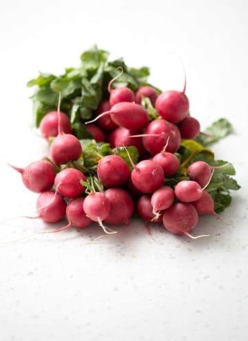 Fresh radishes ready for roasting.