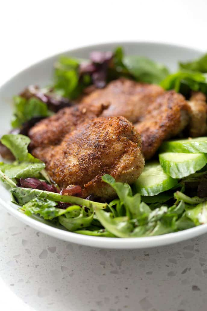 This Gluten Free Pan Fried Chicken Thighs recipe has a crispy exterior and juicy center just like the original recipe. It's a easy and quick recipe that's sure to become a family favorite. This recipe is allergy friendly (gluten, dairy, shellfish, nut, egg, and soy free) and suits the autoimmune protocol (AIP) and paleo diets.