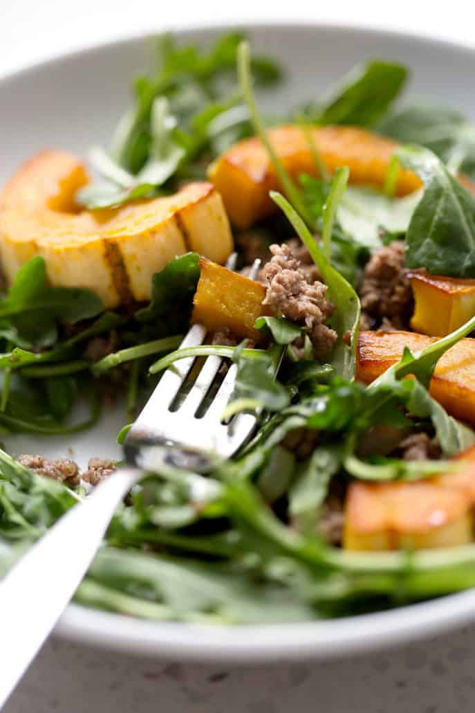 close up plate of salad with squash