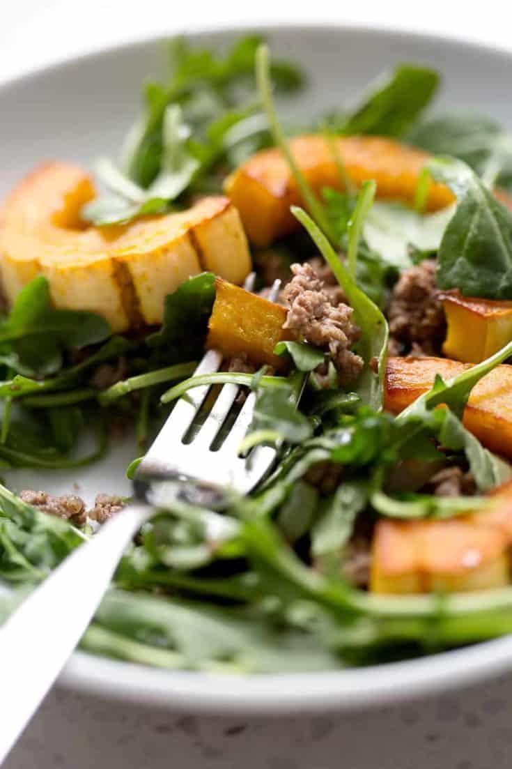Roasted Squash, Beef and Arugula Salad