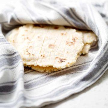 aip cassava (gluten free) flatbread or tortilla on blue towel