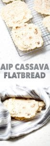 aip (gluten free) cassava flatbread or tortilla in towel and on wire rack