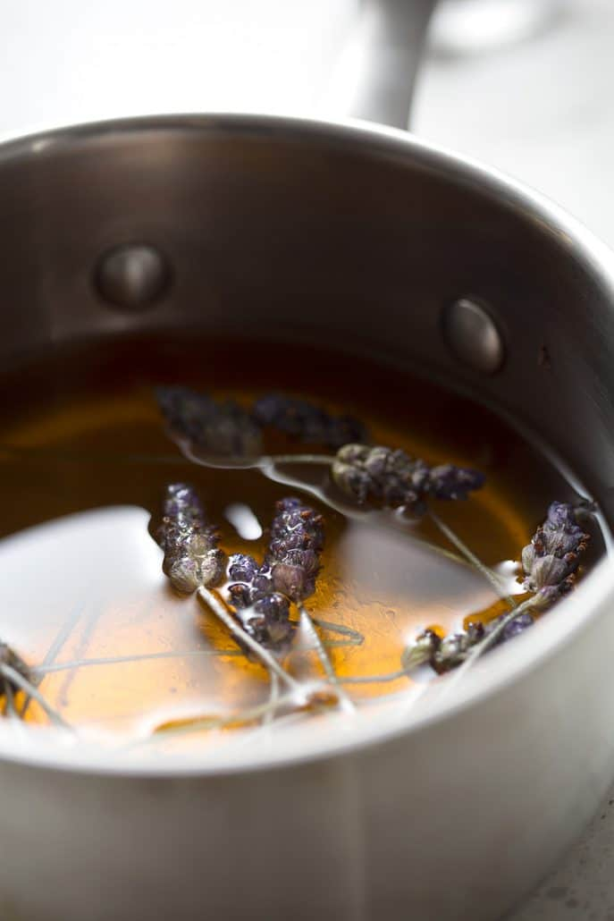 honey and lavender in saucepan