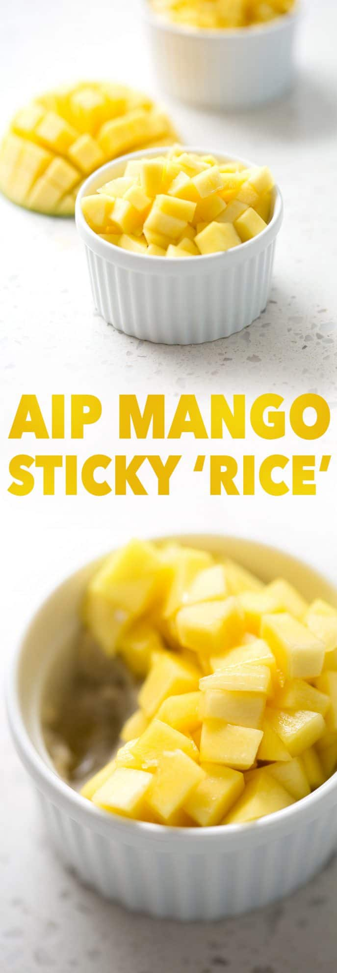 chopped mango with sticky 'rice' in ramekins