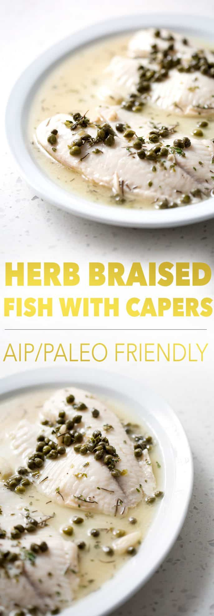 platters of aip/paleo friendly fish with capers and sauce
