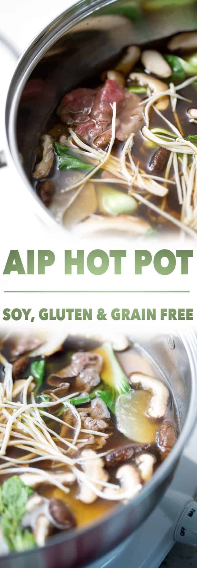 bowls of soup with the words sip hot pot and soy, gluten and grain free.