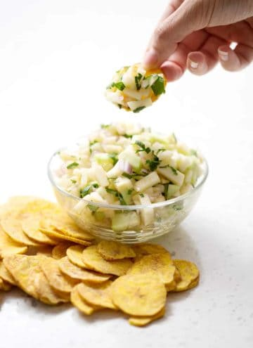 apple salsa in bowl with plantain chips