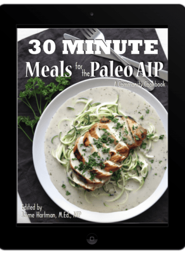 ipad cover of 30 minute meals for paleo aip cookbook