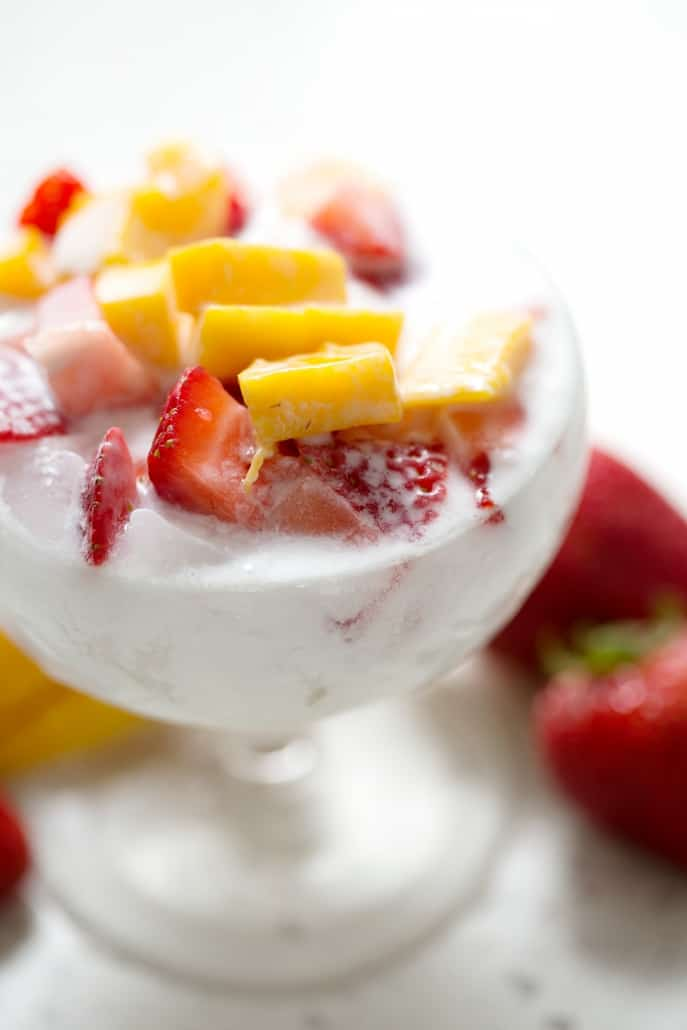 AIP friendly Chinese shaved ice dessert (Bao Bing) with coconut milk