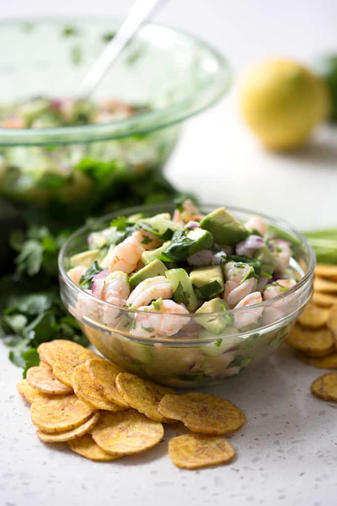 Shrimp Ceviche is an easy, no cook and oh so delicious appetizer, snack or side dish that's totally AIP friendly. This recipe suits the Autoimmune Protocol (AIP) and Paleo diets.
