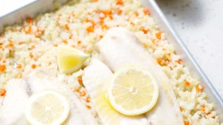 Baked Fish with Cauliflower Rice Pilaf (Sheet Pan Meal)