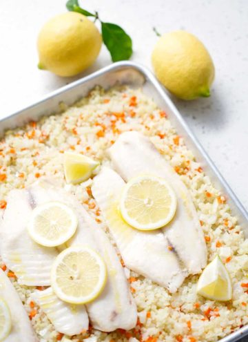 Sheet pan meals make weeknight meals so much easier. This Baked Fish with Cauliflower is so easy that it barely requires chopping. It's a simple dish but packed with flavor. This recipe suits the Autoimmune Protocol (AIP) and Paleo diets.