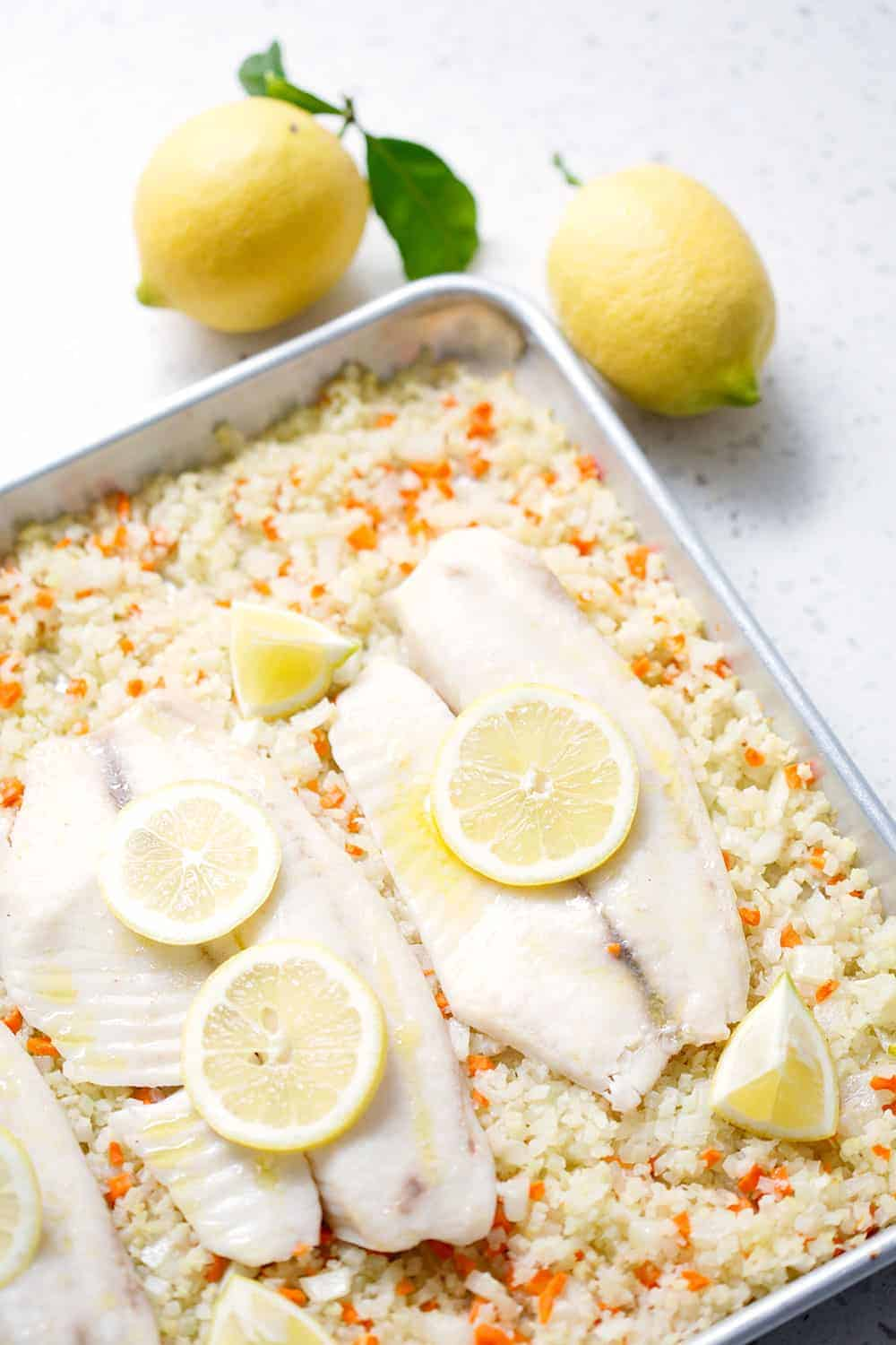 Baked Fish With Cauliflower Rice Pilaf Sheet Pan Meal Bon Aippetit