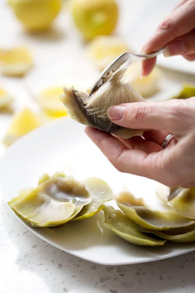 removing hair from artichoke heart