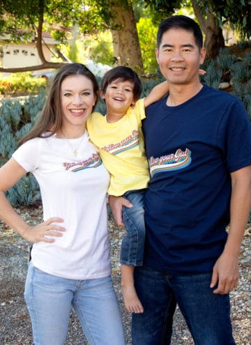 family wearing different colored tshirts
