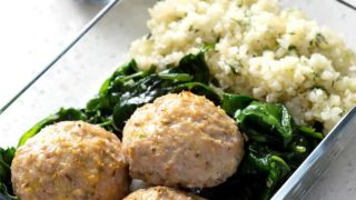 Baked Meatballs, Cauliflower Rice, and Sauteed Spinach Meal Prep