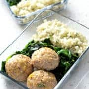 Baked Meatballs, Cauliflower Rice & Sautéed Spinach Meal Prep