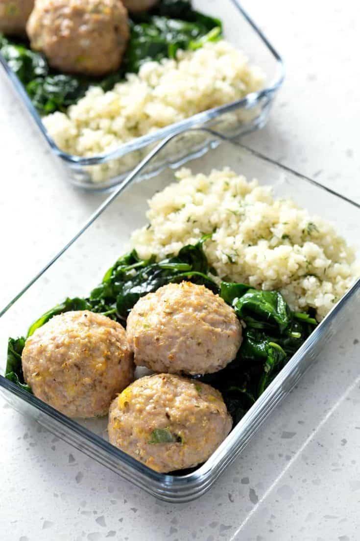 Baked Meatballs, Cauliflower Rice & Sautéed Spinach Meal Prep