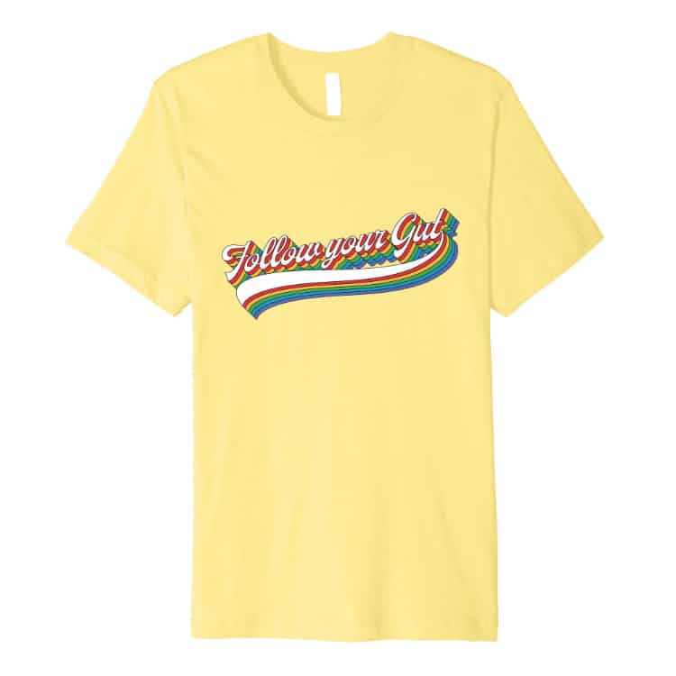 yellow tshirt with seventies design