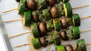 Grilled Meat Skewer with Basil Marinade