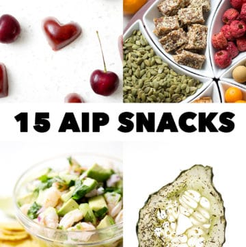 four pictures of snack foods