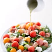 Melon and Prosciutto Salad Platter with Lemon Salad Dressing