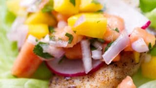 Tilapia Lettuce Wraps with Mango Papaya Salsa