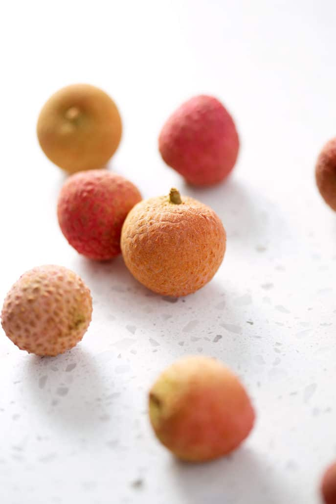 fresh lychee on white background