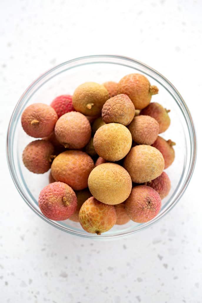 bowl of fresh lychee