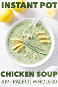 bowl of green soup with lemon and chive garnish with text